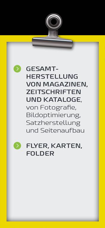 Druckerei Gesamtherstellung von Magazinen, Zeitschriften und Kataloge von Fotografie, Bildoptimierung, Satzherstellung und Seitenaufbau. Flyer, Karten, Folder.
