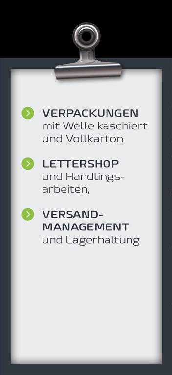Druck von Verpackungen mit Welle kaschiert und Vollkarton. Lettershop und Handlingsarbeiten. Versandmanagement und Lagerhaltung